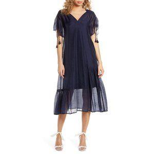 NWT CAARA Kendall Tassel Tie Sleeve Midi Dress XS
